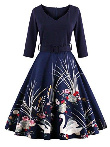 Babyonlinedress Vestido clásico y retro cuello V manga larga espalda de cierre con talla grande talla xl
