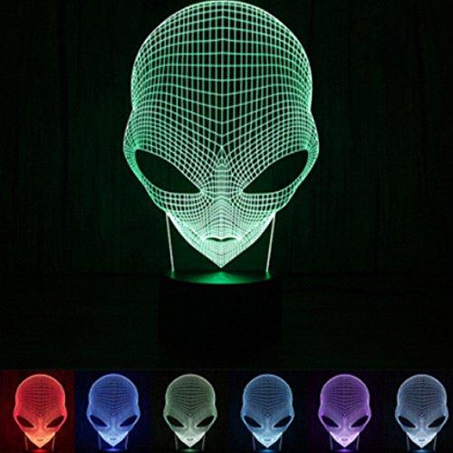 3D Leuchte 3D Lampe Deko 3D LED Lampe Hologramm mit Farbwechsel - Auswahl aus 81 verschiedenen Motiven, hier Alien ca.22x13cm inkl.Sockel - 3D Illusion Dekolicht mit USB Anschluß