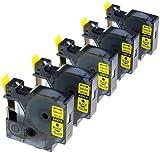 5 Kassetten D1 45018 schwarz auf gelb 12mm x 7m Schriftband kompatibel für DYMO LabelManager LM 100, 110, 120P, 150, 155, 160, 200, 210D, 220P, 260, 260D, 280, 300, 350, 350D, 360D, 400, 420P, 450, 450D, 500TS, PC, PC2, PnP, PnP Wireless, LabelPoint LP 100, 150, 200, 250, 300, 350, LabelWriter LW 400 Duo, 450 Duo Beschriftungsgerät