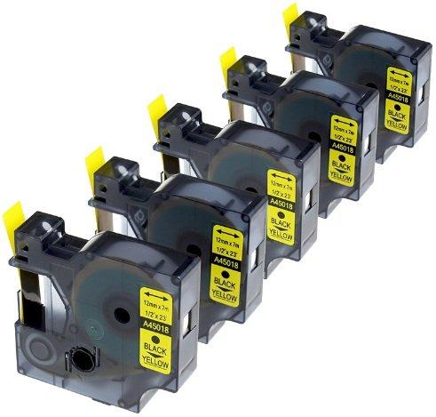 5 Kassetten D1 45018 schwarz auf gelb 12mm x 7m Schriftband kompatibel für DYMO LabelManager LM 100 150 160 200 210D 260 280 300 350 350D 360D 400 420P 450 500TS PC PC2 PnP LabelWriter LW 400 450 Duo -