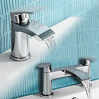 iBathUK Cloakroom Basin Sink Mixer Tap + Bath Filler Bathroom Faucet Set TP454