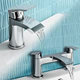 Modern Small Monobloc Basin Sink Mixer Tap and Modern Chrome Bath Filler Tap Set