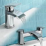 iBathUK   Cloakroom Basin Sink Mixer Tap + Bath Filler Bathroom Faucet Set TP454