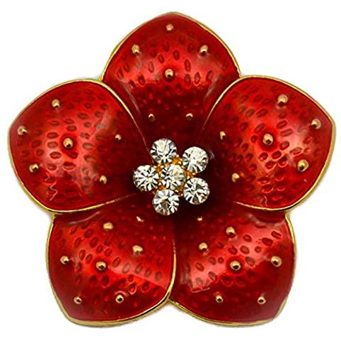 NEW BOXED RED POPPY BROOCH RHINESTONE CRYSTALS FLOWER PIN BROACH