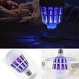 Neue LED Anti-Mosquito Glühbirne 15 Watt 1000LM 6500 Karat Elektronische Insektenfliege Köder Lampe, Timorly Mückenbekämpfung Wiederaufladbar Moskitoschutz(Weiß,12X3.5cm)