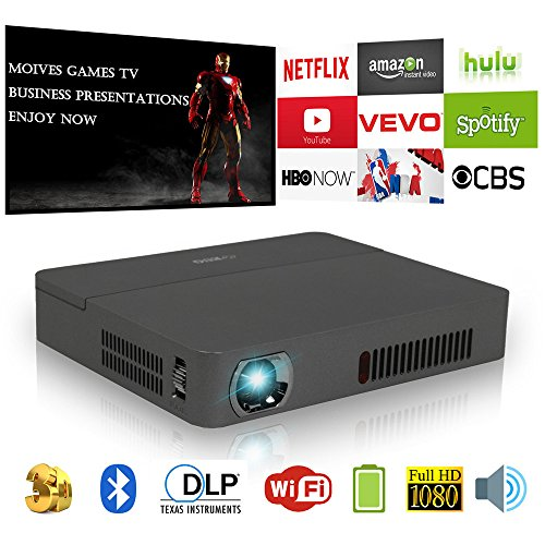Mini Bolsillo DLP 3D HD Proyector Bluetooth, LED portátil Inteligente