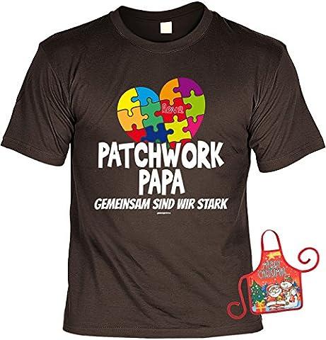 Vater Weihnachtsgeschenk-Set - lustiges Sprüche T-Shirt + Minischürze : Patchwork Papa Gemeinsam sind wir stark -- Papa-Shirt + witziger Scherzartikel Flaschenschürze Gr: (Familien Gemeinsam Auf Weihnachten)