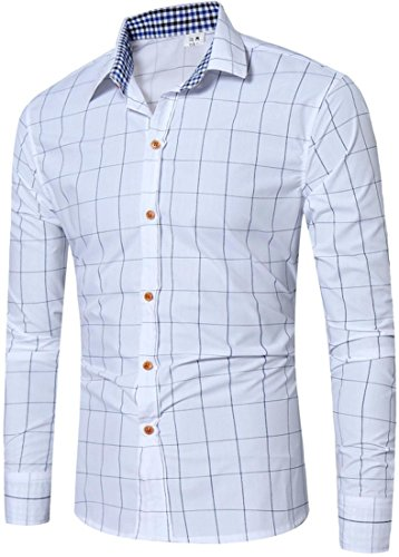 Sportides Herren Casual Long Sleeve Plaid Button Down Check Shirts Tops JZA102 JZA102_White