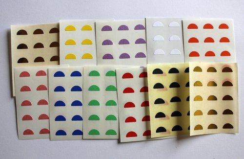 Variado colores. 165 Etiquetas, 10x5mm Half Moon Forma, pegatinas autoadhesivas, Minilabel Formas