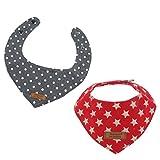 Homyl 2x Hundehalstuch Dreieckstuch Hunde Halsband Katzenhalsband aus Baumwolle,25-32cm