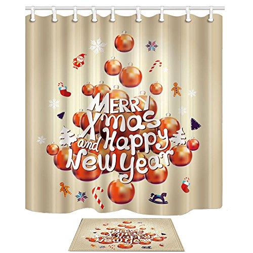 KOTOM Weihnachtsdekor Viele Weihnachtskugel und Mreey Weihnachten Titel Duschvorhänge Set Bad Vorhänge 69X70 Zoll Indoor Bodenmatte Badteppiche 60x40cm