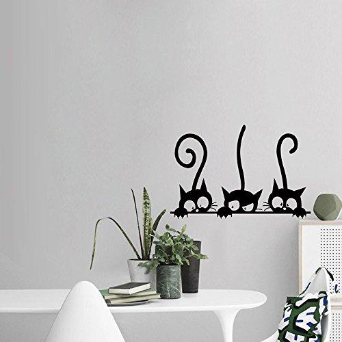 prezzo Topgrowth Wall Sticker Tre Gatti Animale Domestico Camera Finestra Adesivo da Parete Decorazione Murale Removibile (Nero)