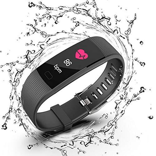 WANGXN Herren Digital Sportuhren Smart Watch Mit Handgelenk-Basierten Optischen Pulsmesser Schrittzähler Stoppuhr Bluetooth Wasserdicht,Black