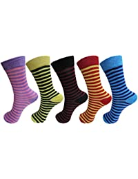 RC. ROYAL CLASS Boys and Girls Calf Length Cotton Striped Multicolored Socks (Pack of 5 Pairs)