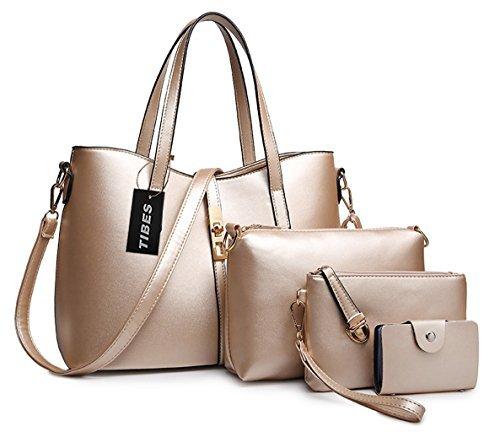Tibes PU cuir sac à main + épaule de sac de femmes de la mode + porte-monnaie + carte 4pcs mis d'or