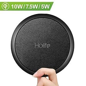 Holife Chargeur sans Fil Rapide, Chargeur Induction Qi 10W, Surface Cuir, ATB Tech, 10W pour Galaxy Note 9/S9/S9+/S8/S8+/Note 8/S7/S7 Edge, 7,5 W pour iPhone XS/X/XS Max/XR/8/8 Plus