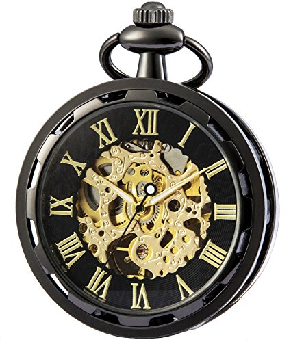 SEWOR 2017 New Design Single Face Mechanical Hand Wind Pocket Watch Full Gold Tone (Black Gold)