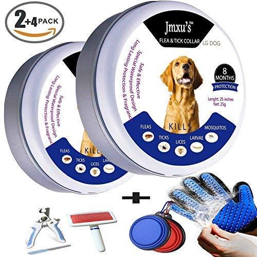 floh-und Zecken Kragen für großen Hund, 2Pack-ab 7 Wochen oder über 18 lb, 8 Monate Schutz , Massage Haarentferner Handschuh 1Päckchen, faltbare hundeschüssel 2Pack, PET Nagelpflege Trimmer Clipper 1