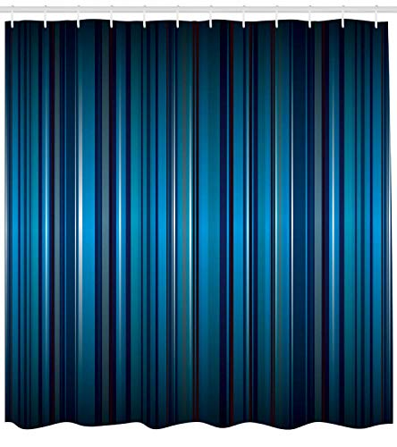 XIAOYI Harbour Stripe Shower Curtain, Vibrant Nvay Blue Background with Thin Vertical Lines Modern Design, Fabric Bathroom Decor Set with Hooks, 60x72 Inches Long, Navy Blue Teal -
