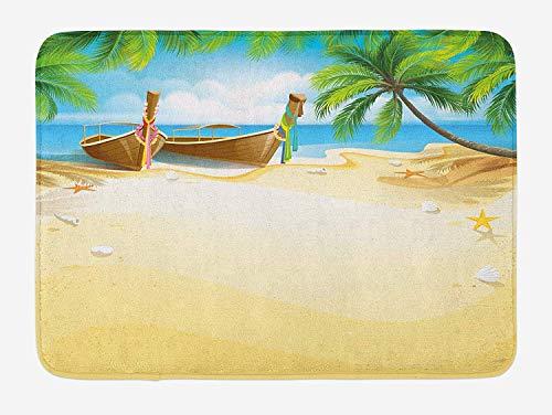KIYINY Beach Bath Mat, Paradise Island Coconut Tree and Boats Tropical Coastline Relaxation Environment, Plush Bathroom Decor Mat with Non Slip Backing, Multicolor 15.7X23.6 inch/40X60cm