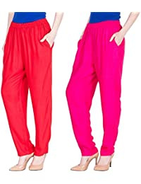 Dada Shopy Comfort Fit Rayon Cotton Pant Palazzo for Women combo 2 (Red::Pink)