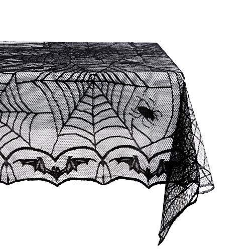Productor Tischdecke aus Polyester mit Spitze, Tischläufer, Tischdekoration, schwarzes Spinnennetz, perfekt für Halloween, Dinner-Partys und gruselige Filmabende Halloween 48