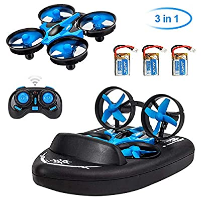 Makerfire 3 in 1 RC Mini Drone JJRC H36F Terzetto Drone Boat RC Quadcopter with Headless Mode 2.4G Remote Control One Key Return 360°Flips Roll Stunt 2 Speed Mode and 3 Batteries