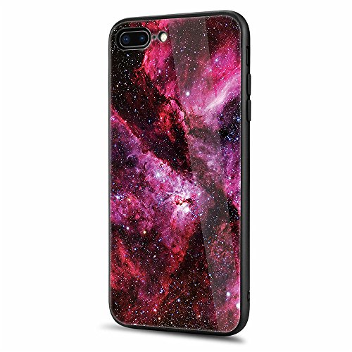 iphone 8 Plus Tempered Glass Case,SUNWAY [Starry Sky][Scratch Resistant] 3 In 1 Ultra-Thin PC Hard Cover 360 Degree Protection Slim Case For Apple iphone 8 Plus - Red