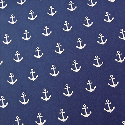 0,5m Stoff Anker dunkelblau/ weiß Motivgröße 2,5cm Meterware 100% Baumwolle 1,4m breit