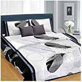 Trendz Home Furnishing 3D Printed 144 Tc Glace Cotton Bedsheet for Double Bed with 2 Pillow Covers Size-88x88 Inches-White & Black