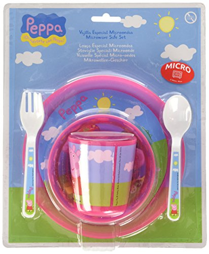 Peppa Pig 760012425/85256 - Set Vajilla Para Microondas Baby 5 Piezas Rosa