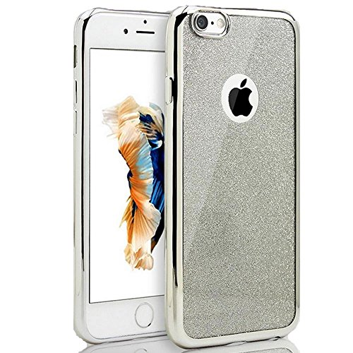 Sycode Custodia Cover per iPhone 8 4.7,Custodia Bumper per iPhone 7 4.7,Ultra Slim Resistenti Anti-scratch Soft TPU Silicone Gomma Gel Intarsiato Glitter Brillantini Bling Confine di Placcatura Dise Argento