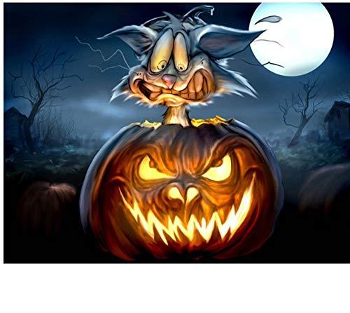HHZDH DIY Diamant Malerei Halloween Katze Dekoration Bohrer Bild Von Strass Diamant Stickerei Tiere 40X50 cm