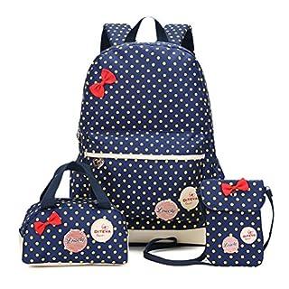 Kinder Teen Mädchen Niedliche Punkt Schule Rucksack Handtasche 3pcs(dunkelblau)