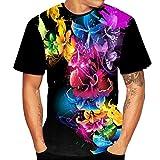 TianWlio Tops T-Shirts Herren Sommer 3D Flood Gedruckt Kurzärmlig T-Shirt Oben Bluse Schwarz M