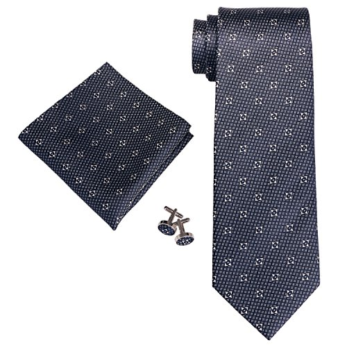 Landisun Floral Hommes Soie Cravate Ensemble 18A70 Dark Blue