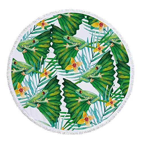 SUYUN Bedruckte runde Strandtuch-Yogamatte mit Quaste als Sonnencreme im Freien -08 150 * 150cm