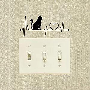 electrocardiogramas animales: WALSTICKEL Pegatinas de pared Animal Con Electrocardiograma Cambiar Pegatinas Vi...