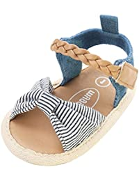 Sandalias niñas Xinantime Zapatos bebés de verano para niñas chica Sandalias con cinturón tejido bebé Sneaker Zapatillas planas Bowknot zapatos princesa calzado (6-12 meses, Gris)