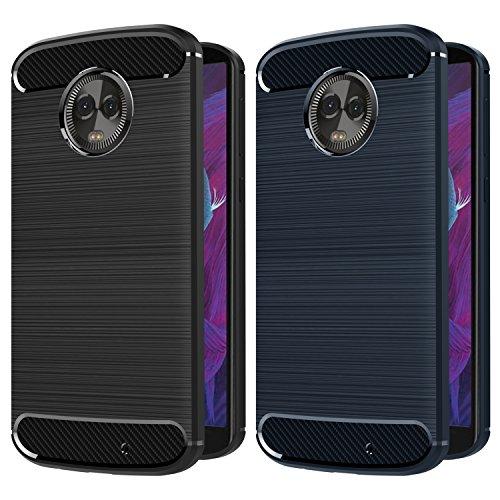 iVoler [2 Stücke] Hülle Kompatibel für Motorola Moto G6 Plus, Carbon Faser Case Tasche Schutzhülle mit Stoßdämpfung Soft Flex TPU Silikon Handyhülle - (Schwarz+Blau) -