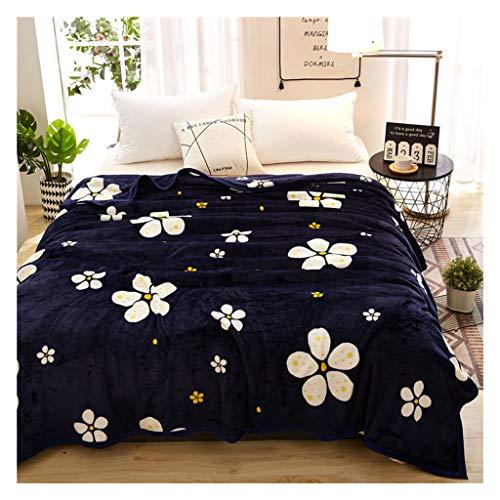 Decken weiche Flauschige gemütliche warme Blaue Blume Muster Flanell Nap Sofa Bett (größe : 180 * 200cm) (Blumen-bett-decke)
