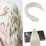 Ugea Tape Extensions Echthaar Blond 60# Tape in Echthaar Tressen Extensions Brasilianich Remy Glatt Haarverlangerung 50g/20pcs 22 Zoll/55cm