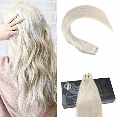 Ugeat Tape Extensions Echthaar Blond 60# Tape in Echthaar Tressen Extensions Brasilianich Remy Glatt Haarverlangerung 50g/20pcs 26 Zoll/65cm