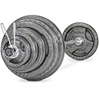 Bodymax Olympic Weight Adult Iron Barbell Set with Triple Grip Holes, WTWK0047
