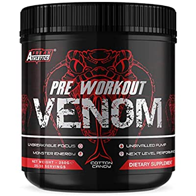 Pre Workout Venom 'Cotton Candy' - The No1 Pump Pre Workout Supplement by Freak Athletics - Elite Level Pre Workout Supplement - Pre Workout Powder Made in The UK - Available in Cotton Candy from Freak Athletics
