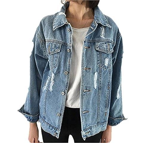 Minetom Femmes Printemps Et Automne Veste En Jeans Veste Blousons À Manches Longues Boutonnage Loose Bf Style Denim Manteau Bleu FR 42