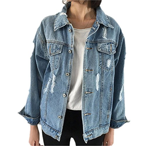 Minetom Damen Jeans-Jacke mit Patches Blouson Knopfverschluss Cut-outs Denim Jacket Outwear Blau DE 40 (Jeans-jacke Denim Damen)