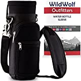 Wild Wolf Outfitters Green Water Bottle Holder for 64 oz Bottles - Carry, Protect and Insulate Your Best Flask with This Military Grade Carrier w/2 Pockets and an Adjustable Padded Shoulder Strap.