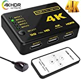 #9: 4k HDMI Switch splitter,Intelligent 5-Port HDMI Switch, Supports 4K, Full HD1080p, 3D with IR Remote (Black-5Port)