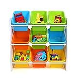 HOMFA Kinder Aufbewahrungsregal Kinderregal Spielzeugregal Spielzeugkiste Kommode mit 9 Kunststoffkästen für Spielzeug und Bücher Multi Toy Organizer 65*26.5*60cm - 3